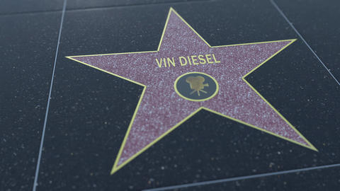 Hollywood Walk of Fame star with VIN DIESEL inscription. Editorial 4K clip Live Action