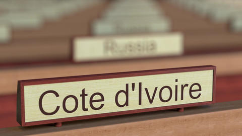 Cote d'Ivoire name sign among different countries plaques at international Live Action