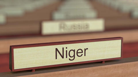 Niger name sign among different countries plaques at international organization Footage