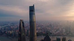 A Panoramic View Angle of Shanghai The City Landscape Aerial Of China Shanghai Footage