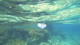 Plasticbag floats under water Footage