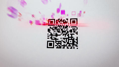 QR code scanner applies lazer and gets information Stock Video Footage