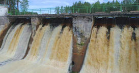 Slow motion, aerial footage of Hydroelectric Dam, Waterfall Footage