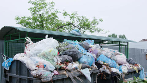 Piles of Garbage Bags in the City Footage
