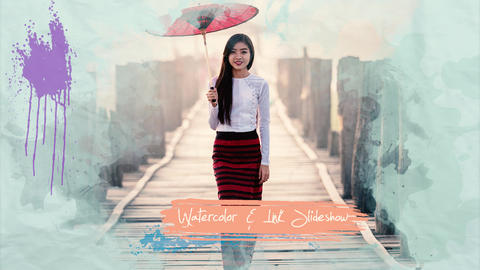 Watercolor and Ink Slideshow Premiere Pro Template