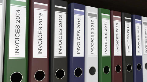 Office binders with Invoices tags different years Footage