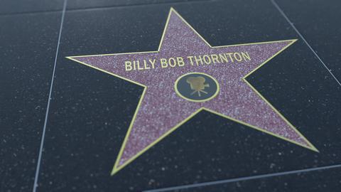 Hollywood Walk of Fame star with BILLY BOB THORNTON inscription. Editorial 4K Footage