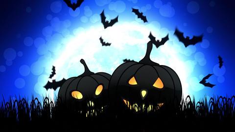 Halloween Pumpkins in Blue Background Animation