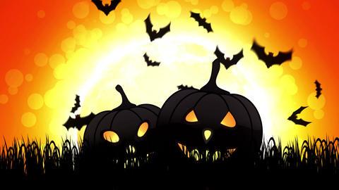 Halloween Pumpkins in Orange Background Animation