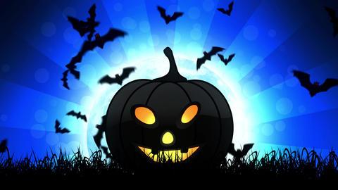 Halloween Pumpkin in Blue Background Animation