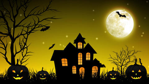 Halloween Night Castle in Yellow Background Animation