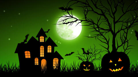 Halloween Castle Pumpkins in Green Background Animation
