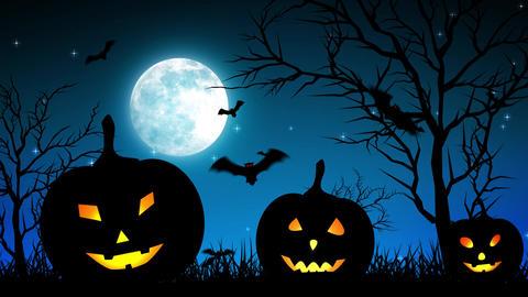 Halloween Pumpkings in Moon Light Blue Animation