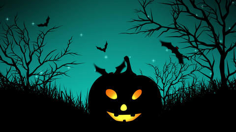 Halloween Pumpkins in Forest Cyan Animation