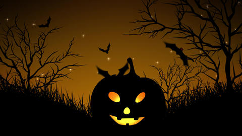 Halloween Pumpkins in Forest Yellow Animation