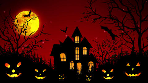 Halloween Castle in the Woods in Red Animation