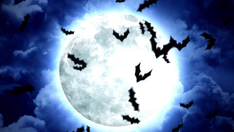 Halloween Moon and bats in Blue Sky and Clouds Animation