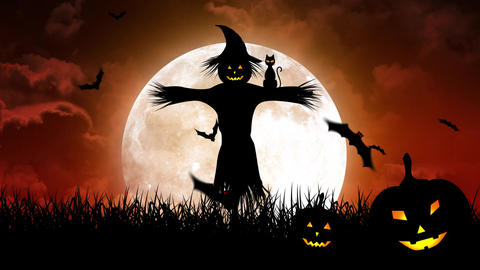 ScareCrow in the Fields and Moon in Red Sky Animation