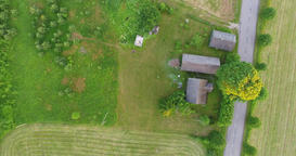 Aerial view rural countryside town, Estonia - Aerial view rural countryside town Footage