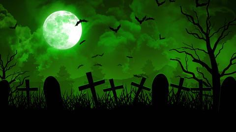 Halloween Cemetery in Green Sky Animation