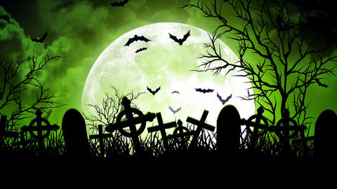 Moon Over Cemetery in Green Sky Animation