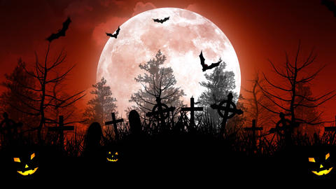 Halloween Moon Over Cemetery in Red Sky Animation