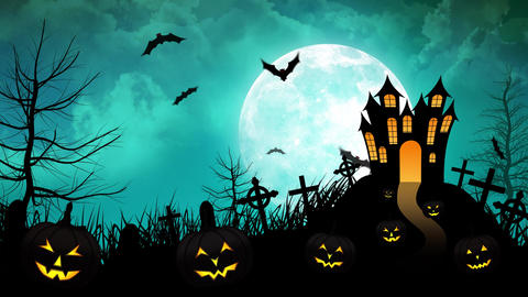 Halloween haunted Castle with Cyan background Animation