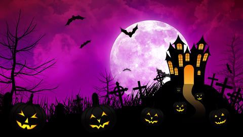 Halloween haunted Castle with Magenta background Animation