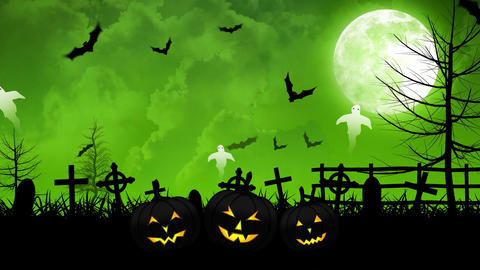 Halloween Ghosts and Cemetery with Green Sky Animation