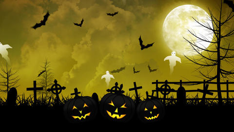 Halloween Ghosts and Cemetery with Yellow Sky Animation