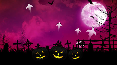 Halloween Ghosts and Cemetery with Pink Sky Animation