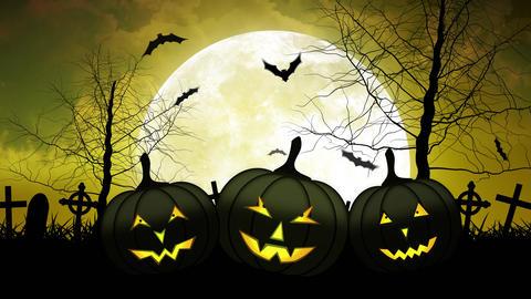 Hallloween Pumpkins with Moon in Yellow Sky Animation