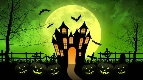 Horror Castle with Moon in Green Background Animation