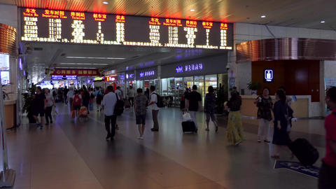 Shanghai Hongqiao Railway Station With People Tourists Passengers in China Footage