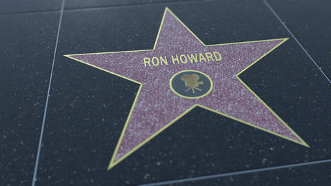 Hollywood Walk of Fame star with RON HOWARD inscription. Editorial 4K clip Footage