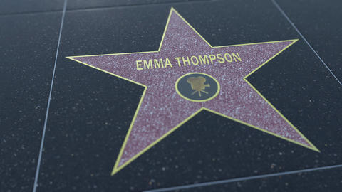 Hollywood Walk of Fame star with EMMA THOMPSON inscription. Editorial 4K clip Footage