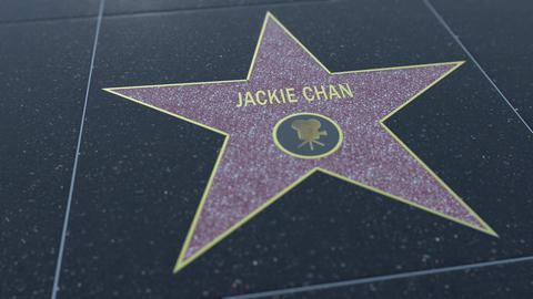 Hollywood Walk of Fame star with JACKIE CHAN inscription. Editorial 4K clip Footage