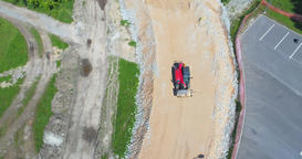 Aerial shot of the road under construction 画像