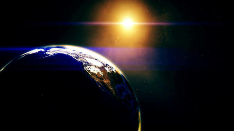 Realistic beautiful sunrise on earth from deep space Animation