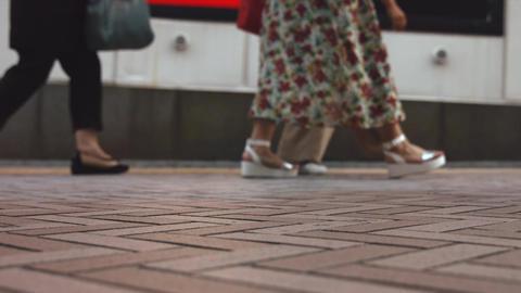 People walking on the sidewalk (Slow Motion Video) Shibuya in Summer Footage