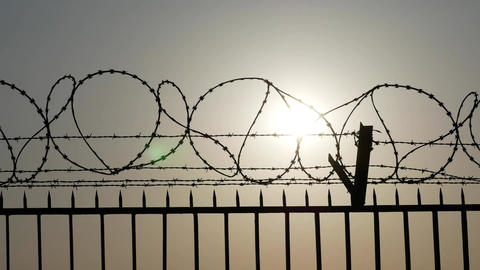 Silhouette of barbed and razor wire on the fence Footage