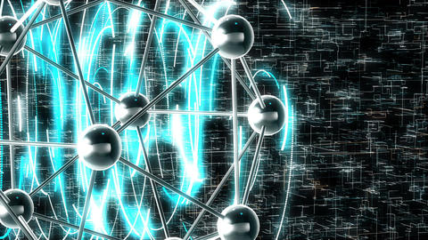 Motion loopable graphics with a rotating molecule on sci-fi background. 4k Animation
