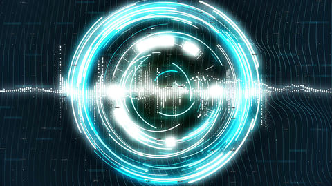 Motion loopable graphics with blue rotating circles on sci-fi background. 4k Animation