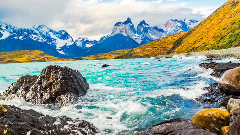 Evening waves of Lake Pehoe and the Cuernos del Paine in Chile Footage