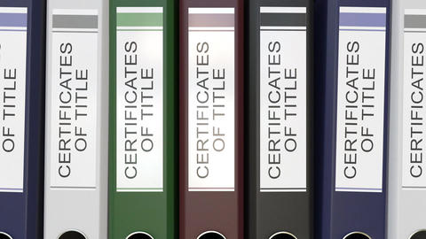 Multiple office folders with Certicicates of title text labels Footage