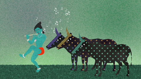 Lord Krishna Playing Flute to Holy Cows Footage