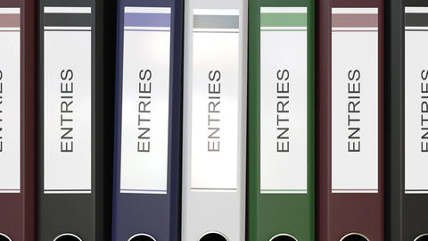 Multiple office folders with Entries text labels Live Action