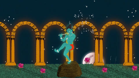 Lord Krishna Playing the Flute in a Garden at Night Footage