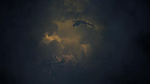 Dragon Flying Through a Lightning Storm Footage