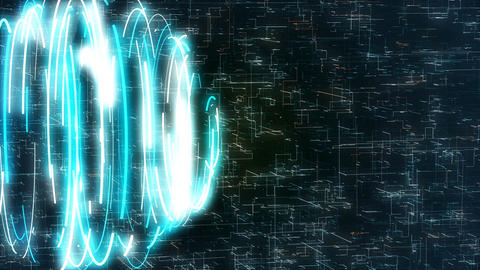 Abstract loopable motion graphics with blue spiral on sci-fi background. 4k Animation